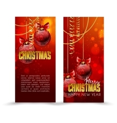 Christmas web banners set with red and gold ball vector