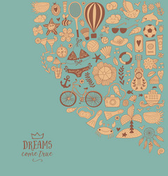summer doodles design travel vacation vector image