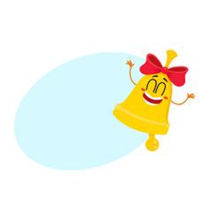 Cute funny smiling golden school bell character vector