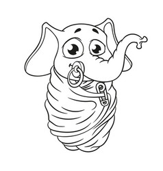 Baby is wrapped with a pacifier in his mouth vector