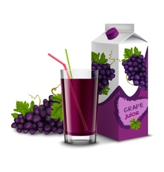 Grape juice set vector