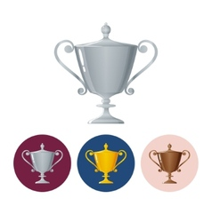 Set icons cups of winnericon trophy cup vector