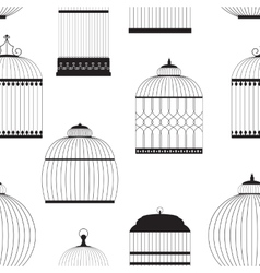 Vintage birdcages silhouettes seamless pattern vector