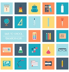 Set of back to school icons flat design vector