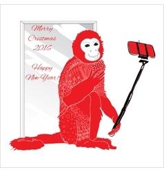 ornamental Christmas monkey with selfie vector image