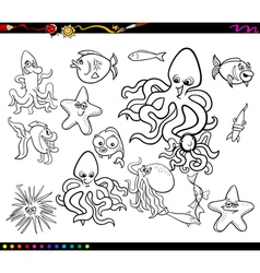 Sea life group coloring book vector