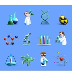 Science laboratory equipment icons set with vector