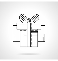 Box with ribbon bow black flat line icon vector