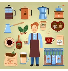 Set of coffee icons vector