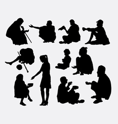 Beggar male and female silhouette vector