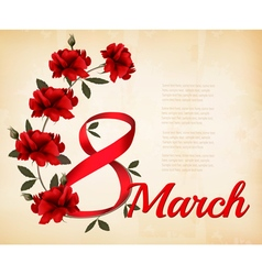 8th march with red roses international womens day vector
