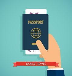 Hand holding passport with tickets passport icon vector