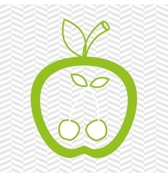 Apple fruit with cherries isolated icon design vector