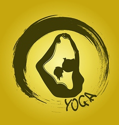 Yoga label with zen symbol and bow pose vector