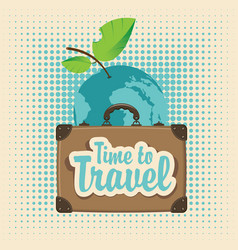 banner with a travel suitcase and planet earth vector image vector image