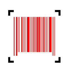Bar code sign red icon inside black focus vector