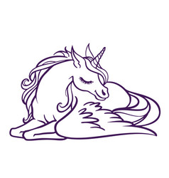 Beautiful unicorn in sleep magic fantasy h vector