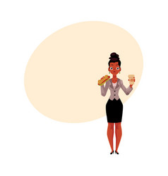 black african businesswoman eating sandwich for vector image vector image