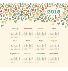 Calendar 2015 year with christmas pattern vector