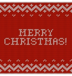 Card of Merry Christmas 2015 with knitted texture vector image