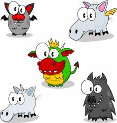 Creatures of fantasy vector