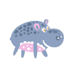Cute smiling cartoon hippo character posing vector