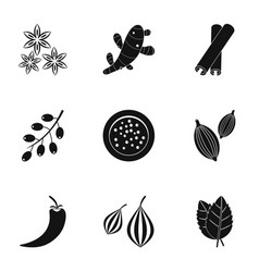 Eco condiment icon set simple style vector