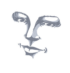 Facial expression hand-drawn of face of romantic vector