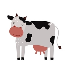 Funny cartoon cow farm mammal animal vector image