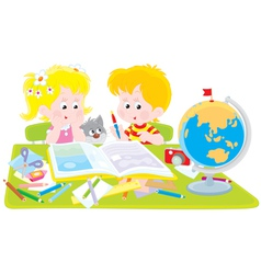 girl and boy with a scrapbook vector image vector image