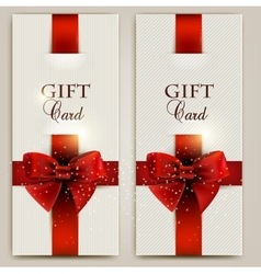 Gorgeous gift cards with red bows and copy space vector image vector image