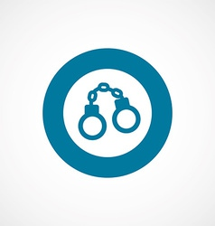 Handcuffs bold blue border circle icon vector