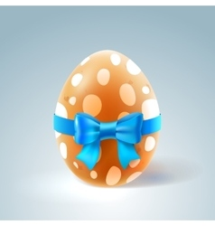 Happy Easter Brown Egg with Blue Bow vector image vector image