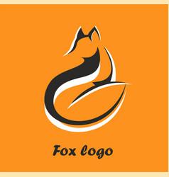 Logo fox fox sitting and looking away vector
