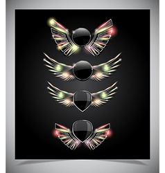 Metal Shield emblem with glass wings vector image