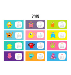 monster horizontal monthly calendar 2018 cute vector image vector image