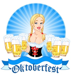 oktoberfest girl serving beer vector image vector image