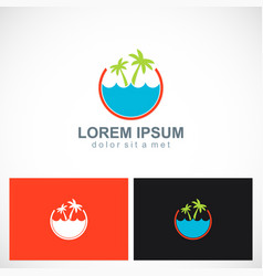 palm tree beach ocean holiday logo vector image vector image
