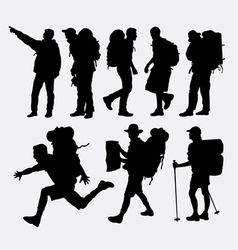 People hiking silhouettes vector