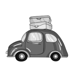 Red car with a luggage on the roof icon in vector