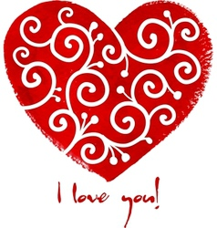 Red painted heart with white ornament vector image