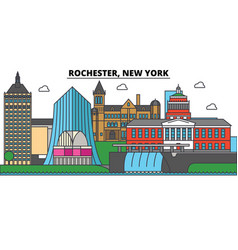 rochester new york city skyline architecture vector image vector image