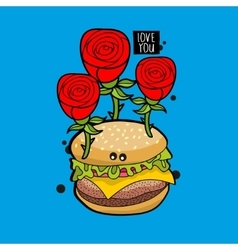 Romantic hamburger portrait with red roses vector
