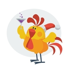 Rooster bird drinks champagne cock in santa s hat vector