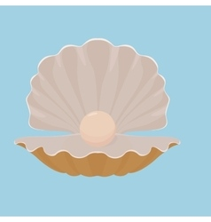 Scallop seashell with pearl vector image vector image