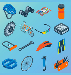 set of bicycle parts isolated isometric vector image