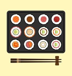 Set of sushi rolls flat design vector image vector image