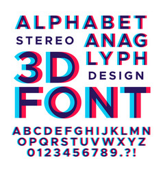 stereoscopic stereo 3d letters and numbers vector image vector image