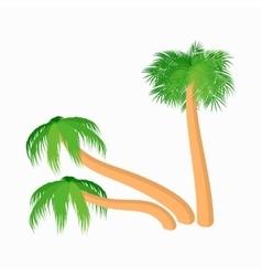Three slanted palm trees icon cartoon style vector