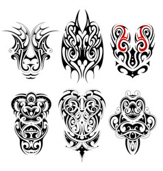Tribal tattoo set with various ethnic styles vector
